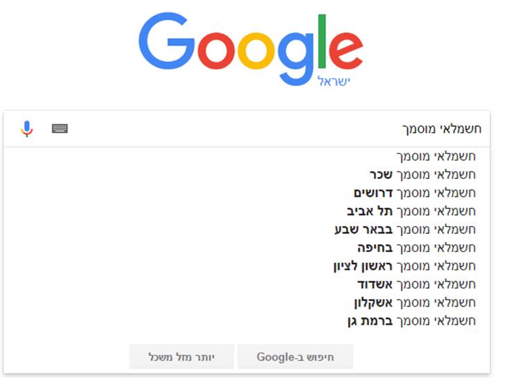 גוגל מספקת לנו רעיונות נוספים לביטויים