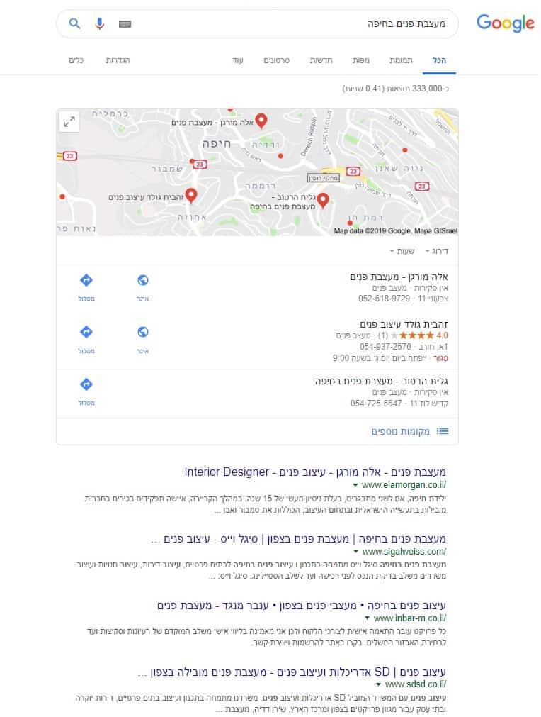 קידום אתר של לקוחה בחיפה